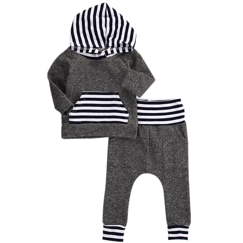 Newborn Toddler Infant Baby Boy Girl Spring Autum Casual Clothes Hoodie Long Sleeve T shirt Tops Long Pants Outfits Set 0-3T 2018 spring newborn baby boy clothes gentleman baby boy long sleeved plaid shirt vest pants boy outfits shirt pants set