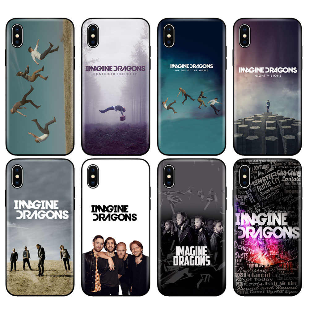 Black tpu case for iphone 5 5s se 6 6s 7 8 plus x 10 case silicone cover for iphone XR XS MAX case imagine dragons night music