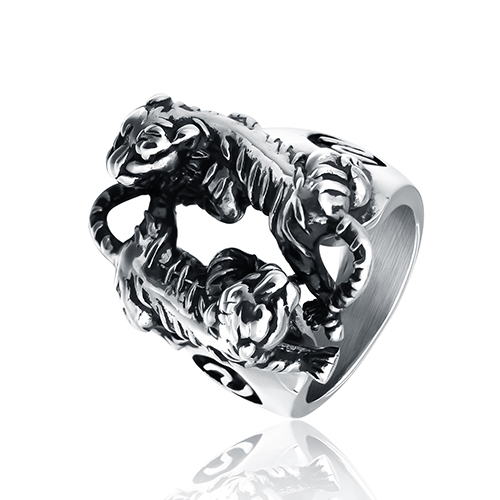Seeseeny two tigers Shaped fashion ring made of metal in gray color for both man and women Beauty and jewelry