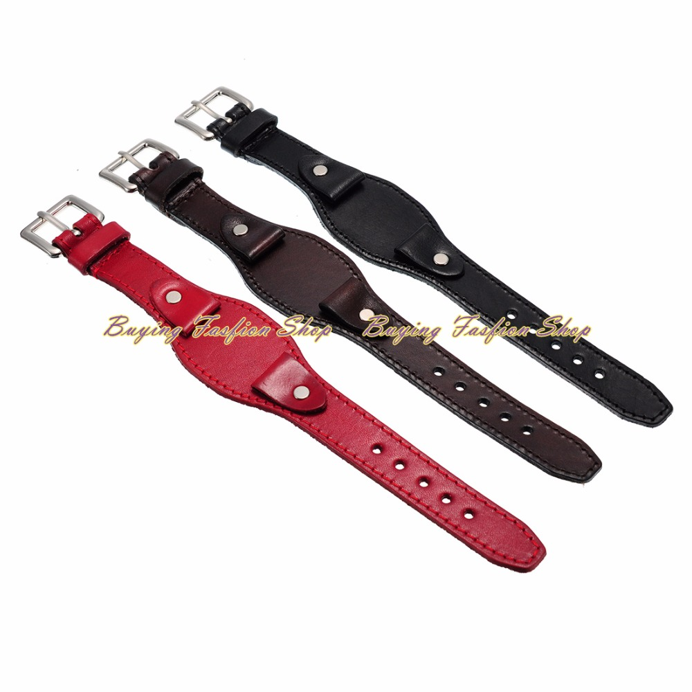 2016 New Arrival 19mm Black Brown Red Genuine Leather Watch Band Strap For Wrist Watches Replacement for Men&women new arrive top quality oil red brown 24mm italian vintage genuine leather watch band strap for panerai pam and big pilot watch