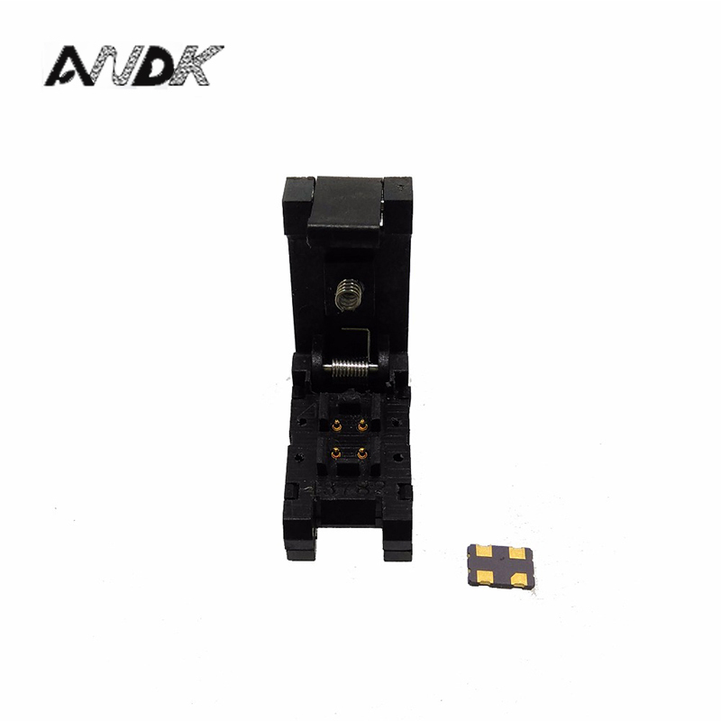 QFN4 DFN4 WSON4 burn in Socket Pogo Pin IC Test Adapter QFN4-1.2-CPO1PNL Pitch 1.2mm Clamshell Size 3.2*2.5mm Burn in Socket dfn5mm 3 2mm test socket qfn4 dfn4 wson4 mlf4 to dip4 programmer adapter