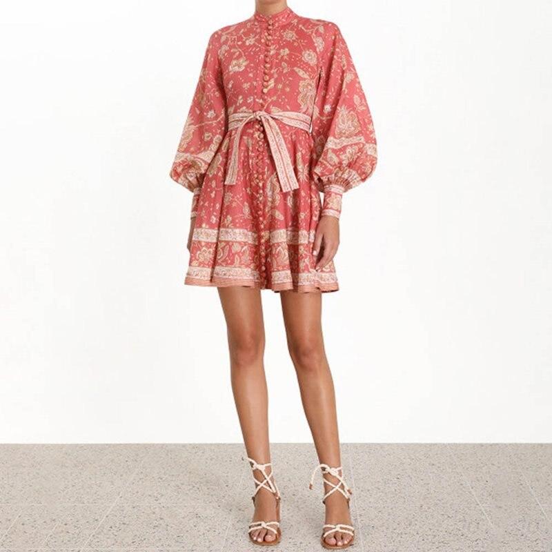 Boho doux élégant fête été Chic Sexy femmes Mini robes col montant Floral à lacets imprimer femme Vintage mode robe