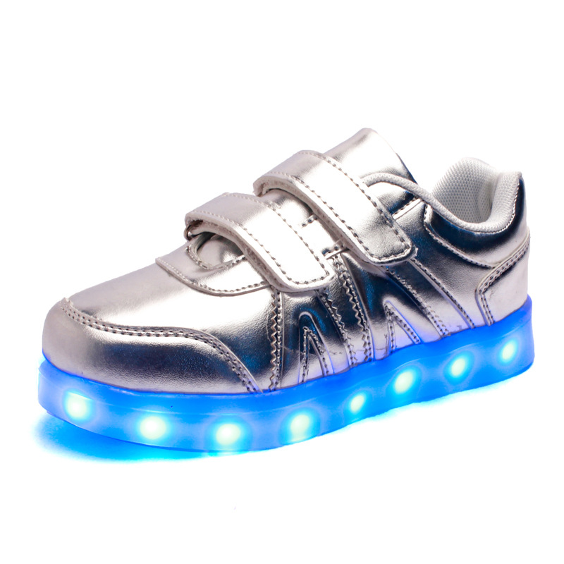 Led Shoes Kids Boys Shoes Usb Charging Led Children Shoes Girls Luminous Casual Sneakers Kids Enfant Golden White Silver luminous glowing sneakers children kids led shoes breathable zapatos shining children usb charging kids led shoes 50z0005