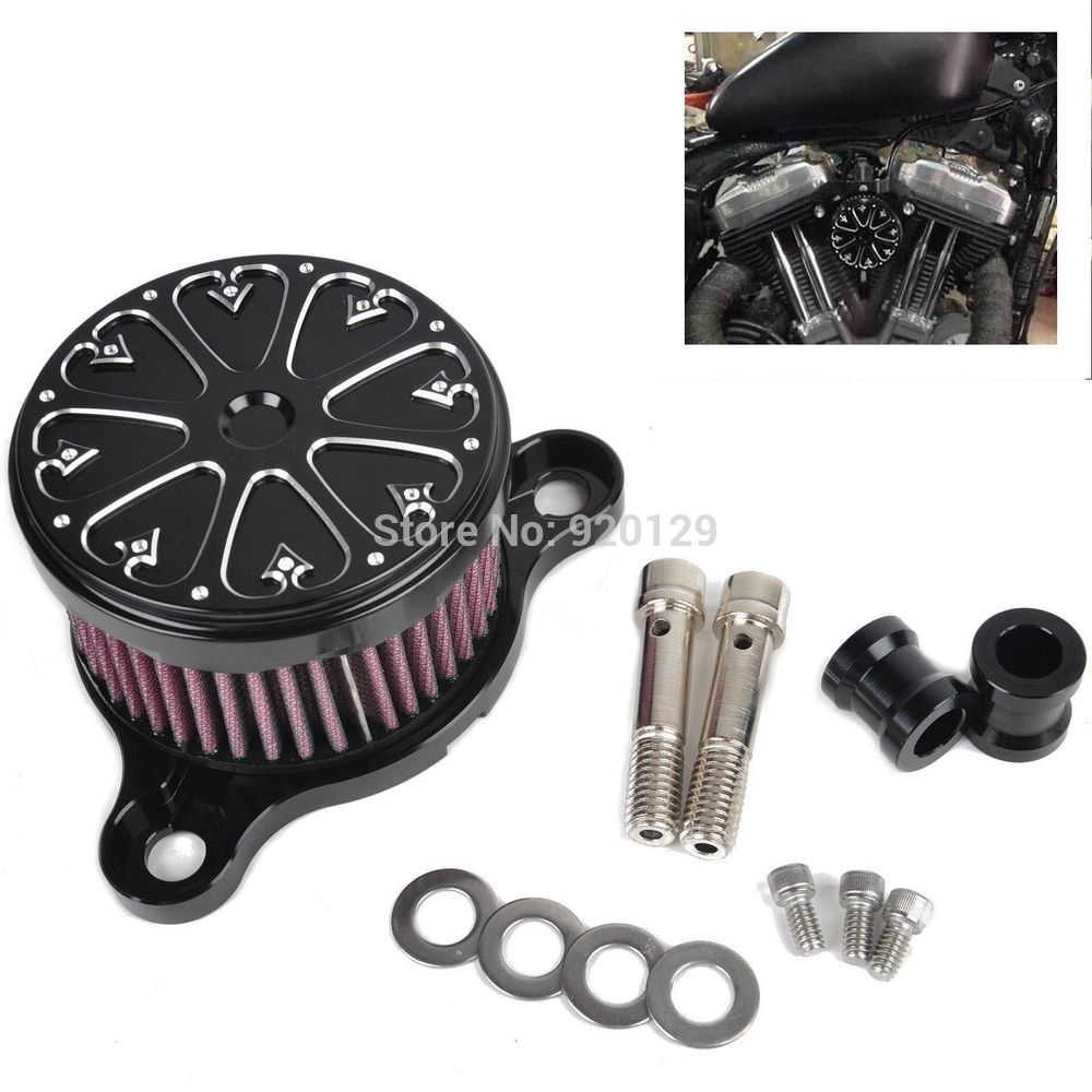 Motorcycle Black <font><b>Air</b></font> Cleaner Intake Filter <font><b>Air</b></font> Filter <font><b>System</b></font> For Harley Sportster XL 883 1200 2004 - 2014