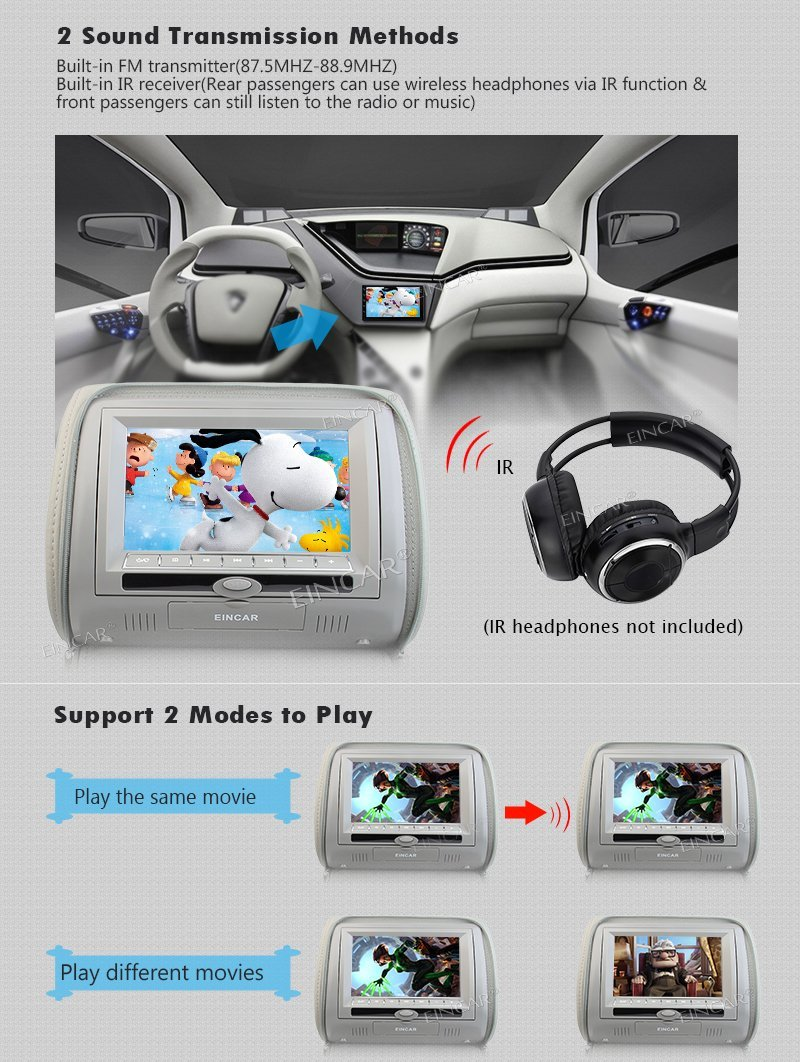 Car Pillow Headrest Monitors support Car CD/DVD Player USB/SD FM Transmitter Auto Stereo IR Headphone(2Include) + 32 bits Games