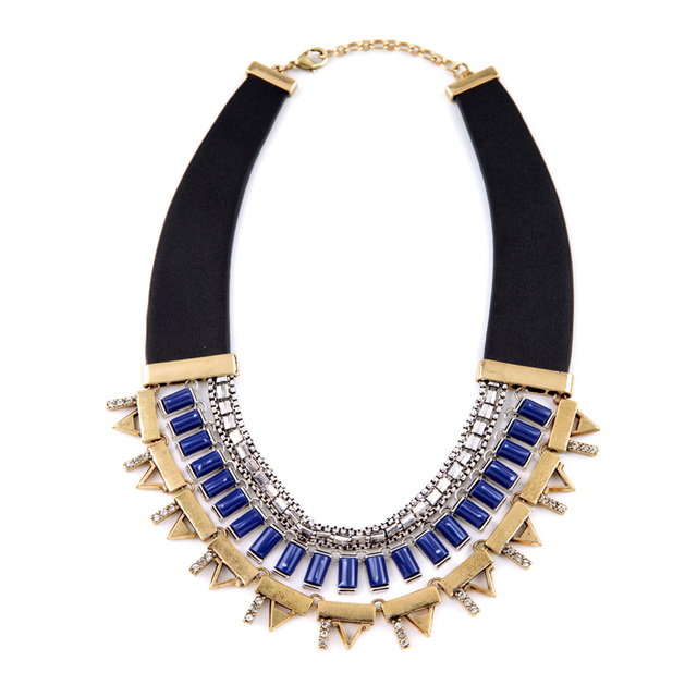 New Design Necklace For Women Personalized Egyptian Ethnic Spike Gold Unique Big Pendants Leather Necklaces Statement Jewelry