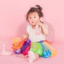 цена Rainbow Color Baby Kids Girl Bowknot Mesh Gauze Dance Performance Tutu Skirt for baby girl в интернет-магазинах