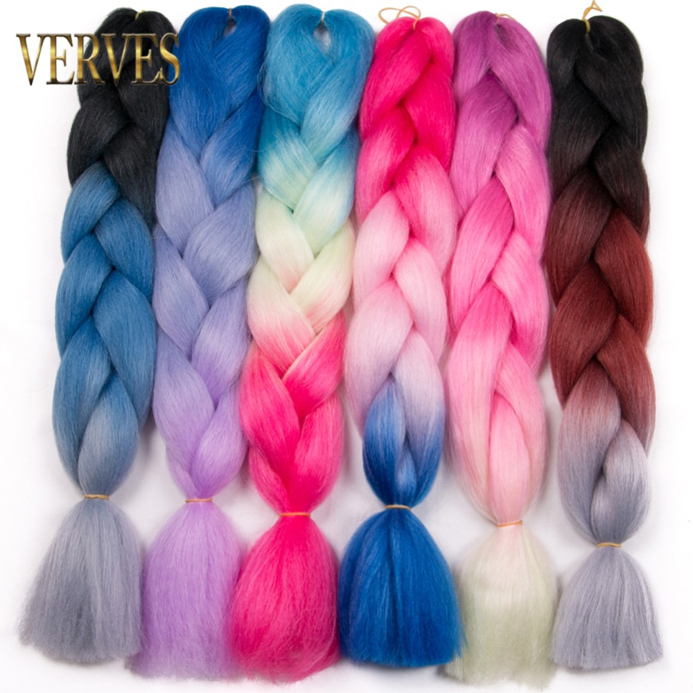 two Tone Three Four Tone Realistic Verves 5 Piece/lot Synthetic Ombre Braiding Hair 24 Inch Kanekalon Braids Hair Extensions Pure Color