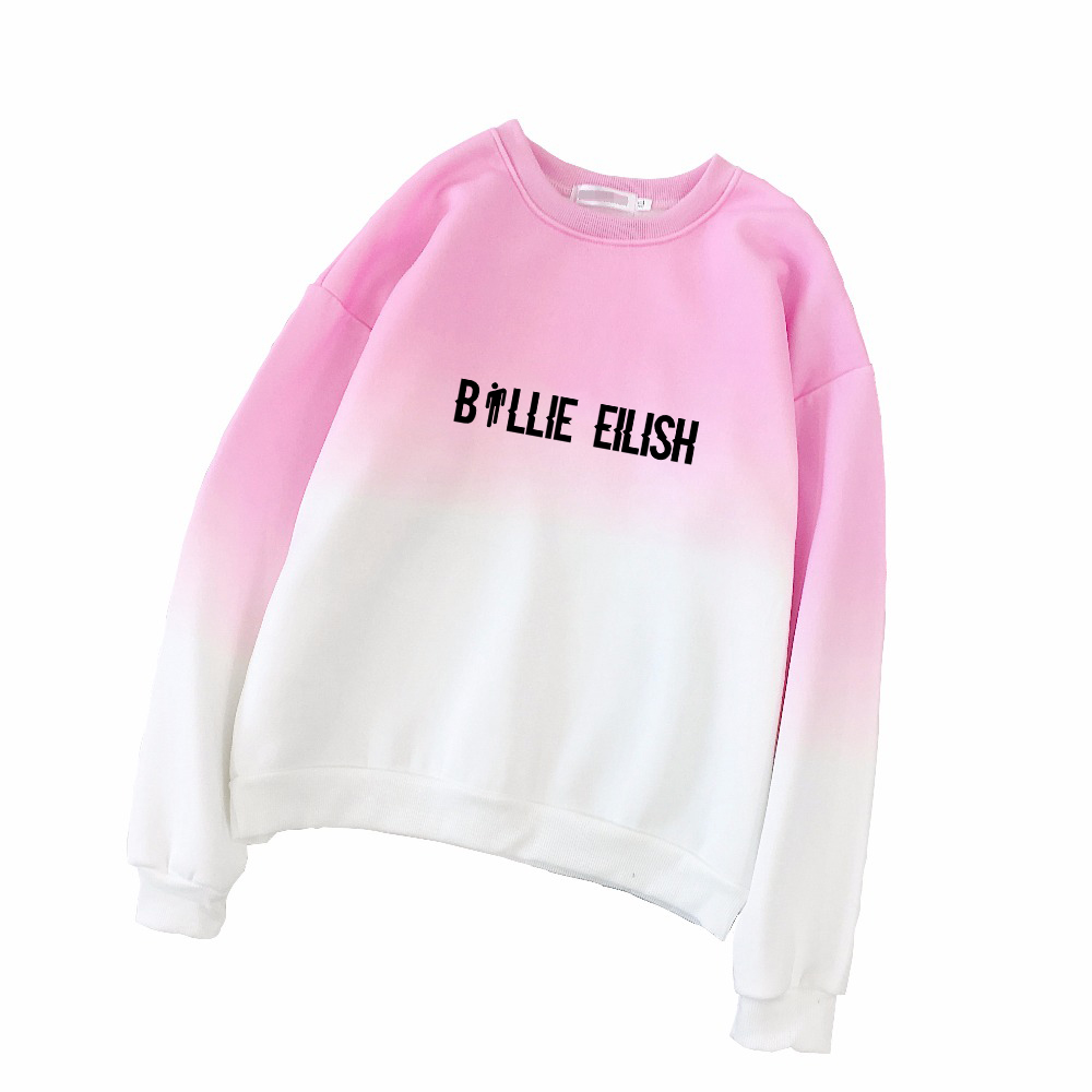 BILIE EILISH Women Sweatshirt Gradient Color Fashion Korean Coat Moletom Feminino Streetwear Sweat Femme Sudadera Poleron Mujer