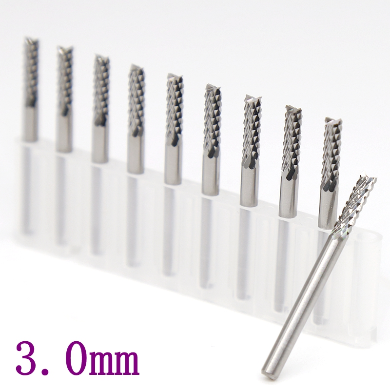 3.0mm PCB Strawberry Milling Cutter 10PCS Metal Woodworking CNC Router Power Tools Tungsten Carbide Drilling Machine Accessories
