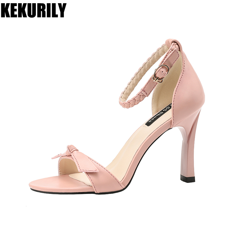 2018 Summer Shoes Woman bow Sandals Weave belt buckle High heels Slides shallow Peep toe Pumps zapatos mujer Black pink brown