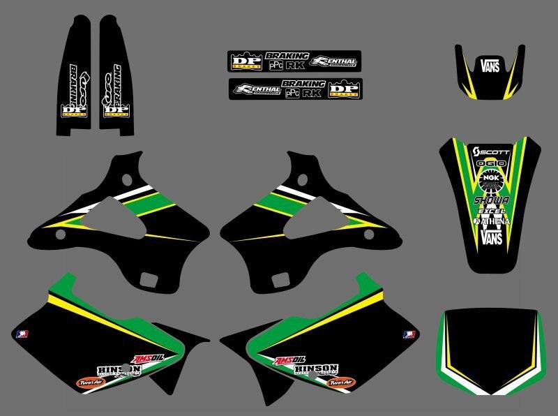 0221 Power New Style ÉQUIPE GRAPHICS & MILIEUX DÉCALQUES voiture Kits pour Kawasaki KX125 KX250 1994 1995 1996 1997 1998 KX 125 250