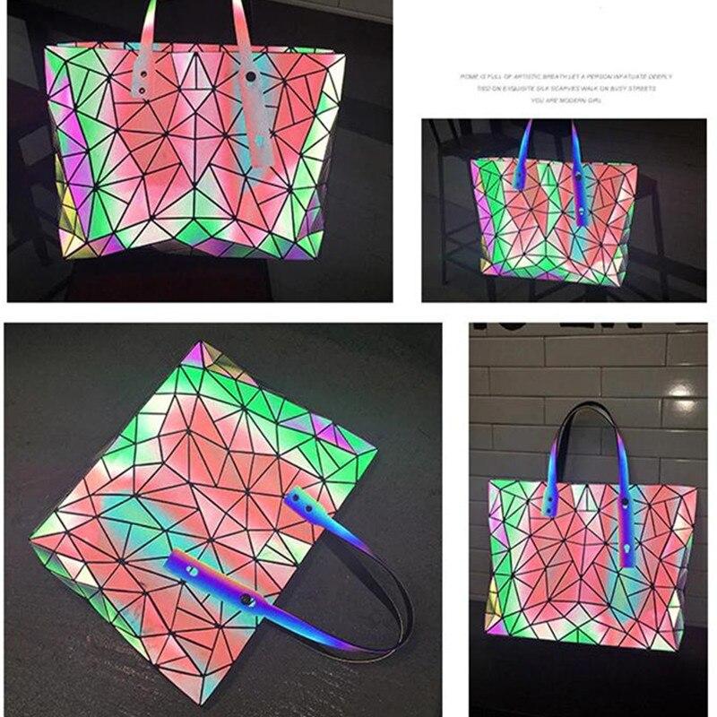 Image 2 - Women's large capacity holographic laser handbag irregular geometric luminous girl shoulder bag laptop office big bag-in Top-Handle Bags from Luggage & Bags