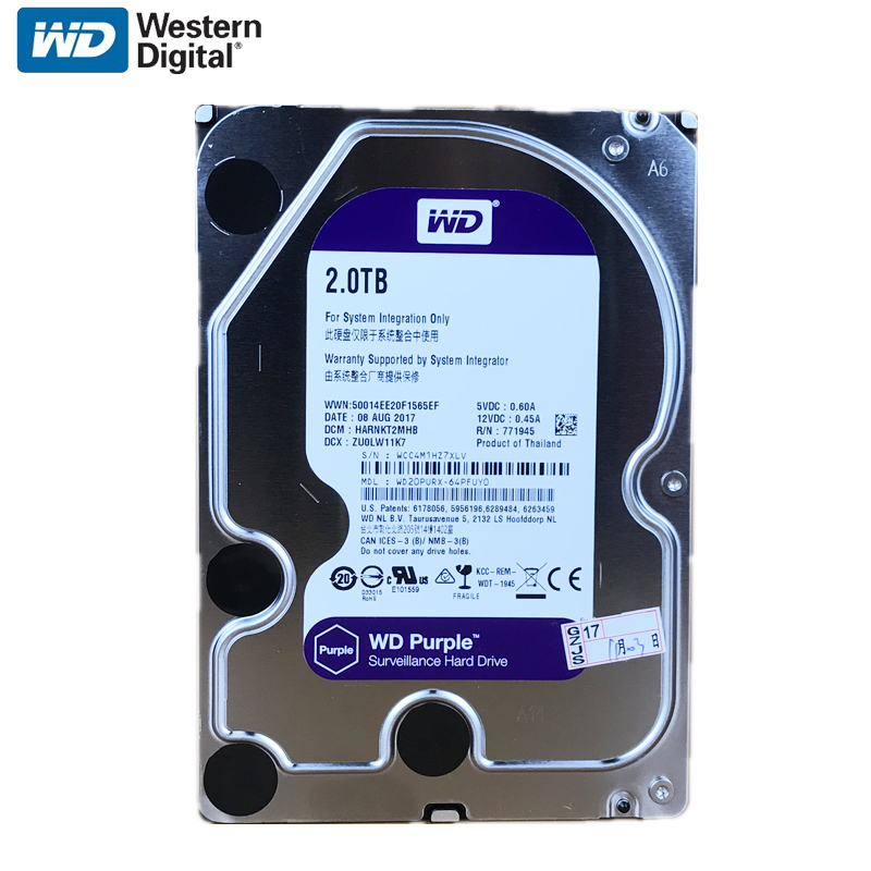 WD Purple 2TB Surveillance Internal Hard Drive Disk 3.5 64M Cache SATA III 6Gb/s 2T 2000GB HDD HD Harddisk for CCTV DVR NVR 2017 new 3 5 inch 2000g 2tb 7200rpm sata professional surveillance hard disk drive internal hdd for cctv dvr security system kit