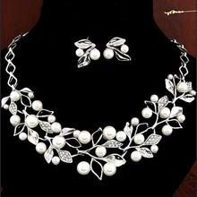 Luxury Imitation Pearl Rhinestone Jewelry Set Necklace Choker Bib Statement Chunky Collar Chain Stud Earrings for Women