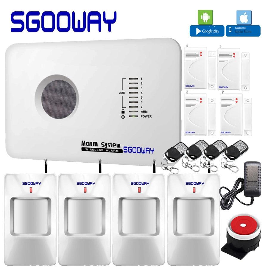 Sgooway Factory Smarts russe anglais espagnol polonais Android iOS App contrôle systèmes d'alarme de sécurité à domicile système d'alarme gsm