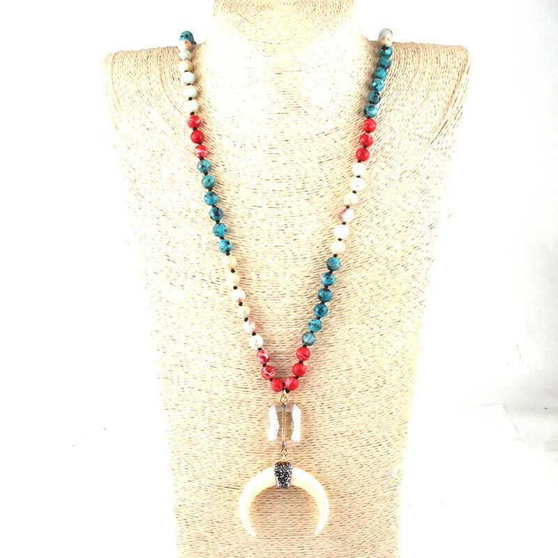 ファッションボヘミアン部族のジュエリー 108 ビーズマルチ石結び目クリスタルリンク白ムーンチャームペンダントネックレスウォメヨガネックレス