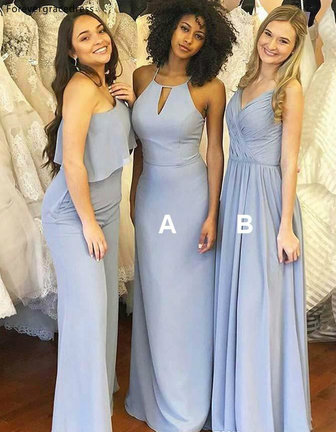 Sky Blue   Bridesmaid     Dresses   Beach Boho Mixed Style Summer Beach Country Garden Wedding Party Guest Maid of Honor Gowns Plus Size