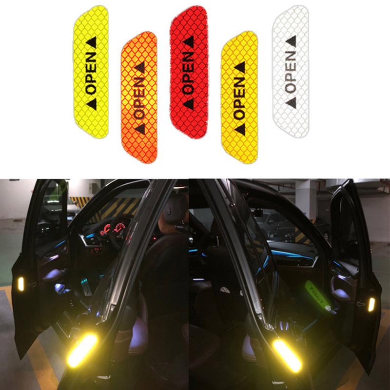 4pcs/set Reflective Open Sticker Door Open Warning Safety Car Styling Car Sticker Auto Decor Night Lighting Luminous Tapes(China)