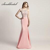 2018 Nouveau Design Rose Sirène De Bal Robes Longues avec Perlé Perles Corsage Satin Sans Manches Mode Femmes de Soirée Partie Robe LX420