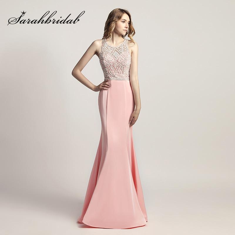 on sale b6135 28a22 US $111.92 20% OFF|2018 neue Design Rosa Meerjungfrau Prom Lange Kleider  mit Perlen Perlen Mieder Satin Mode Frauen Abend partei kleid LX420-in ...