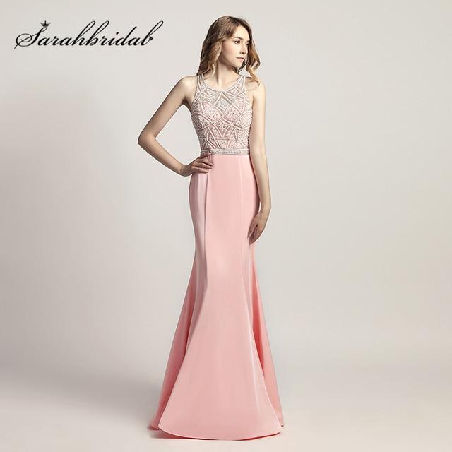 3054344cb 2018 nuevo diseño rosa sirena baile de graduación vestidos con cuentas  perlas corpiño de satén sin
