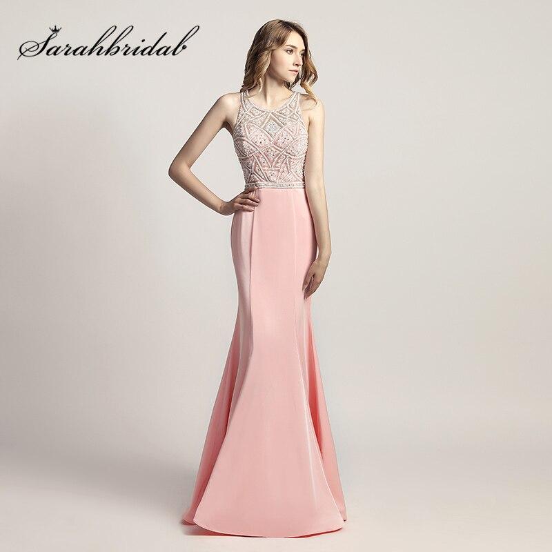Tienda Online 2018 nuevo diseño rosa sirena prom largo Vestidos con ...