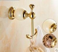 luxury Jade & brass golden double robe hook bathroom hangings gold towel rack clothes hook Bathroom Accessories kitchen hanger