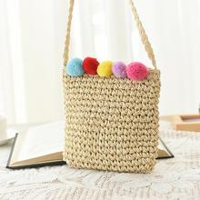 New Summer Plush Ball Crossbody Bag Women Small Straw Hand Woven Beach Candy Color Small Square Bag Shoulder Bags Bohemian Pouch