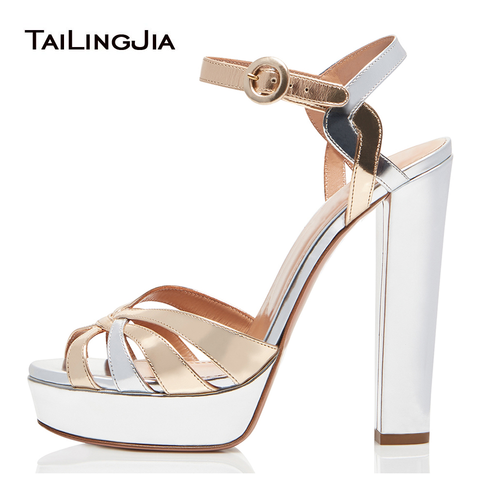 Gold and Sliver Patent Leather Platforms for Women Strappy Sandals Peep Toe Chunky Heel Evening Dress Heels Ladies Summer Shoes red patent leather strappy sandals cut out ankle strap buckle high heel shoes peep toe cage shoes women summer dress shoes