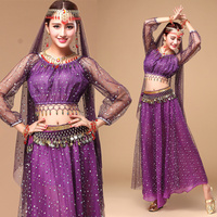 Egyptian Egypt Belly Dance Costume Professional 4 Pcs Top Skirt Waist Chain Head Top Indian Clothes