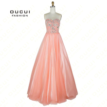 oucui Romantic Pink Sweetheart Prom Dresses Ball Gown
