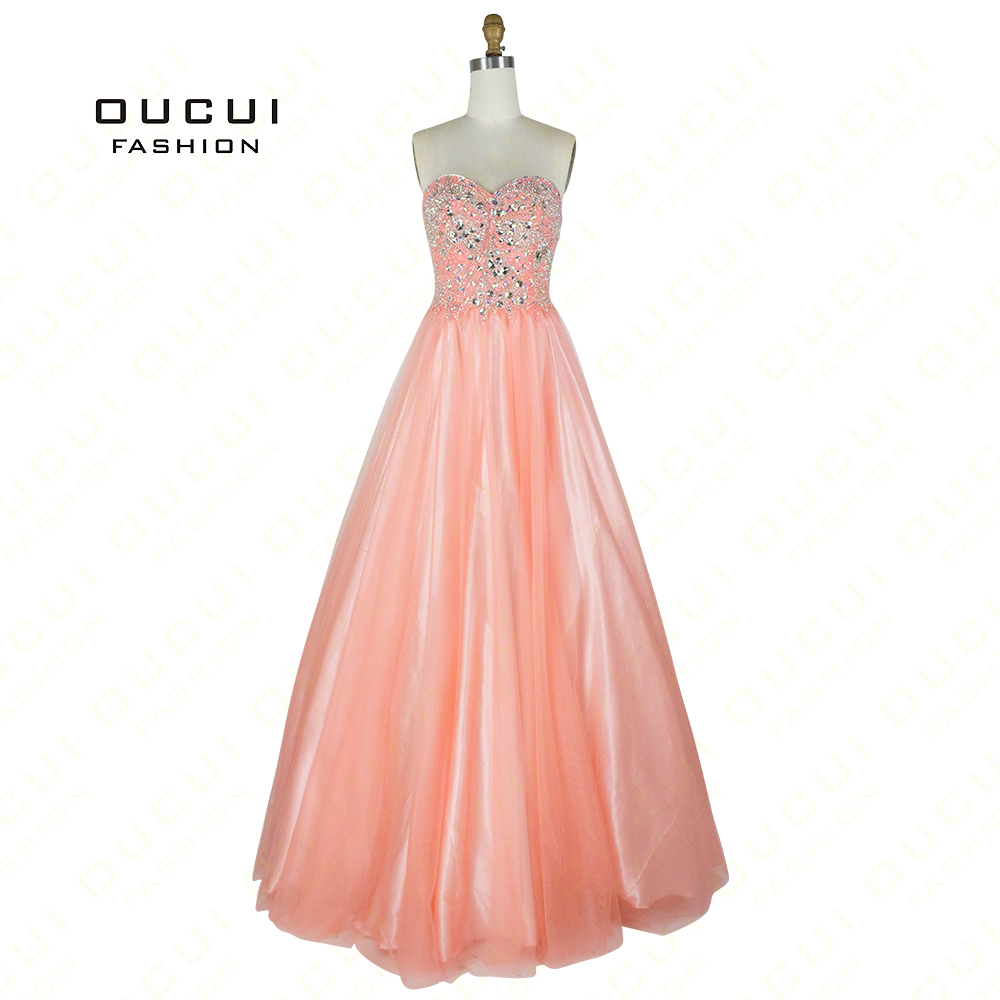 Romantic Pink Sweetheart Beading Crystal Long   Prom     Dresses   Tulle Ball Gown Wedding Guest Formal   Dress   Women Elegant OL102763