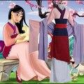 Envío gratis nuevo 2015 por encargo Fantasia princesa Mulan disfraz de Halloween mujeres Cosplay adultos trajes Mulan