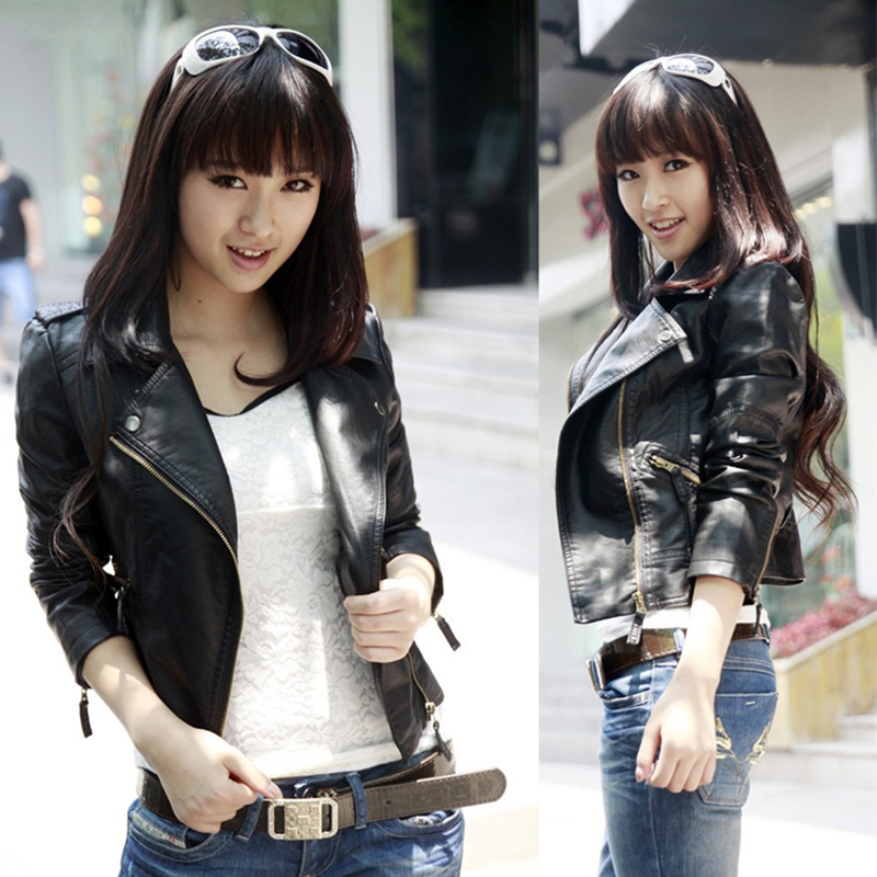 Plus Size Jacket Short Coat Women Clothers Leather Coats Cool Casual Zipper Black Jacket ...