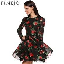 FINEJO 2017 Sweet Slim Chiffon Dresses Women Summer Dress 3D Print Rose Floral Long Sleeve Vestido Plus Size Clothing S-XXL