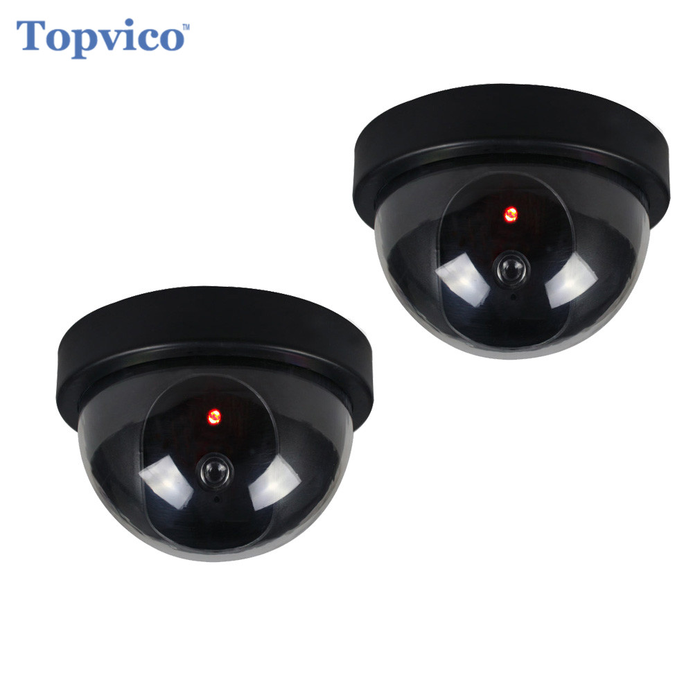 Topvico 2pcs Dummy CCTV Camera AA Battery for Flash Blinking LED Fake House Safety Home Security Camera Dome Surveillance Camera