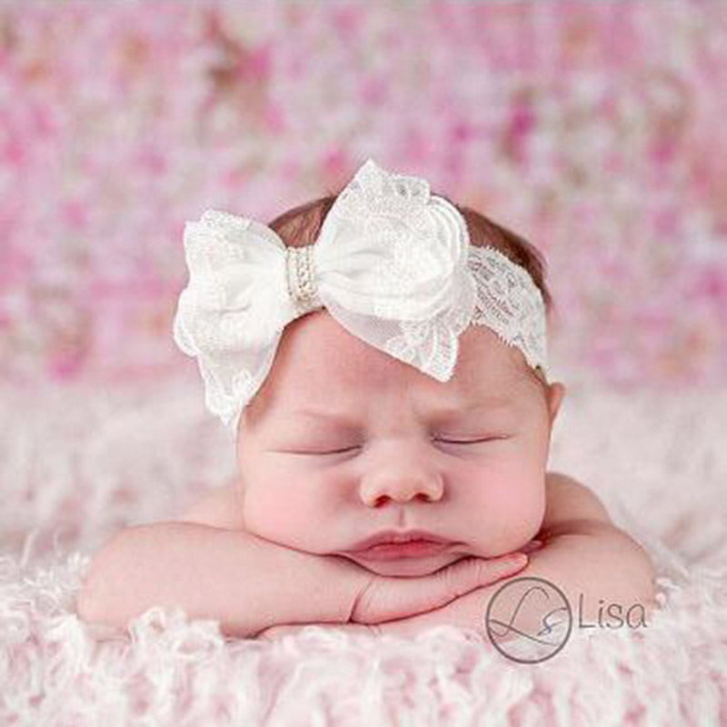 Newborn Headband Lace Bow Pearl Hair Bow Headwear Kids Headbands Newborn Photography Props Hair Accessories