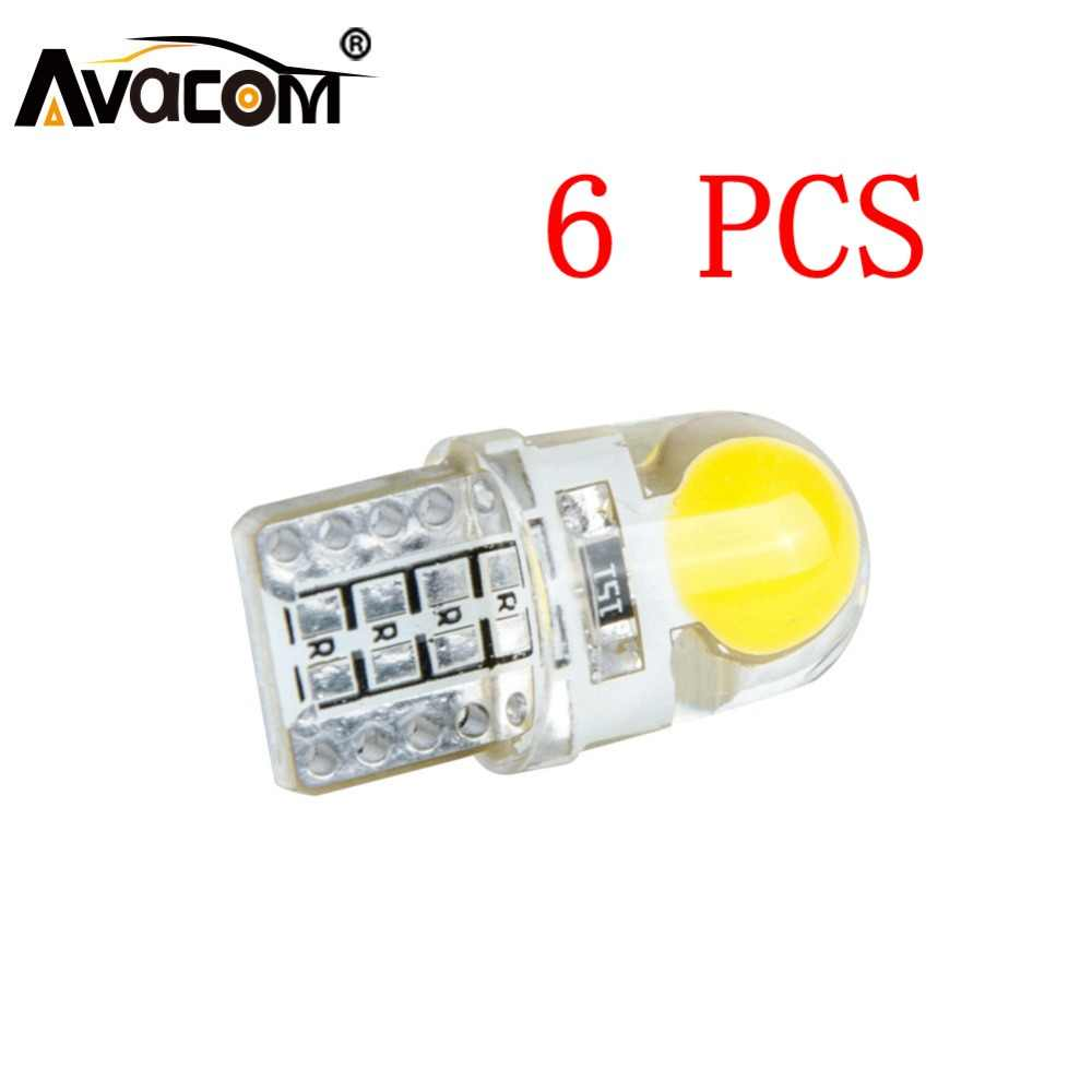 Avacom 6pcs T10 W5W LED RGB LED Car Interior Bulb COB Chip 12V Car Turn Signal Light Auto Brake Lamp Ampoule LED Voiture
