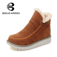 BONJOMARISA Big Size 34-43 Winter Snow Boots Women Ankle Boots 2016 Round Toe Platform Winter Shoes With Fur  Woman Fur Shoes