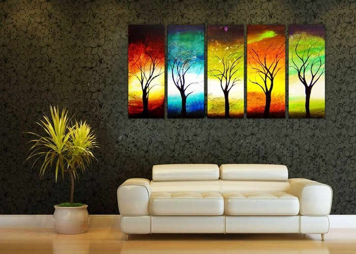 handpainted 5 piece modern abstract oil paintings on