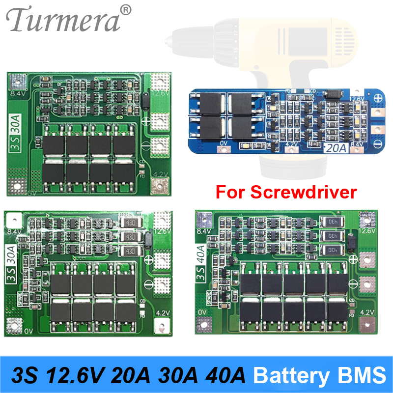 3S 12.6V 20A 30A 40A for Screwdriver Battery 12V Li-ion 18650 Battery Protection Board BMS PCM image