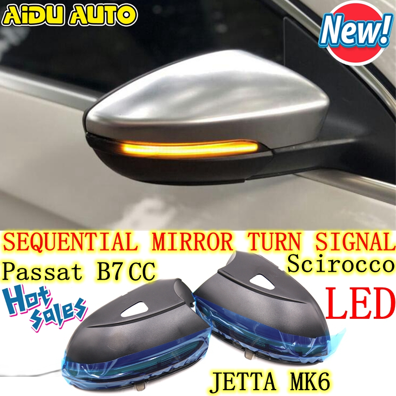 LED Flowing Rear View Dynamic Sequential MIRROR Turn Signal Light For VW Passat B7 CC Jetta MK6 Scirocco wisengear led turn signal corner light lamp door rearview mirror cover cap for volkswagen vw beetle cc passat b7 jetta mk6 eos