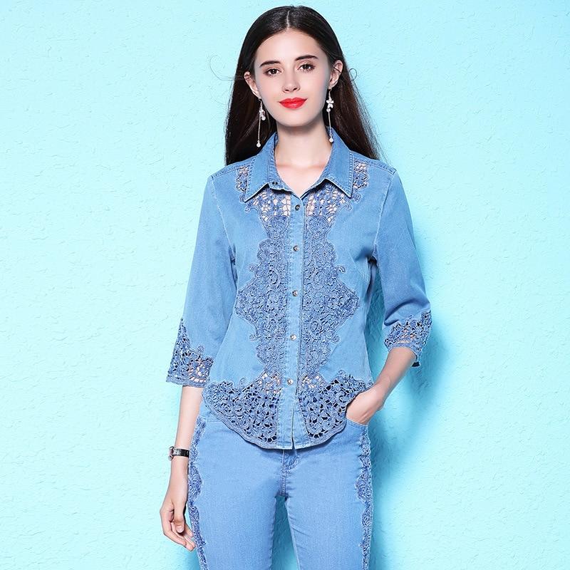 Women s summer new stylish lace hollow out blouse plus size women s denim shirt women