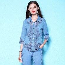 Women's summer new stylish lace hollow out blouse plus size women's denim shirt women's fashion thin blouse NW18B2620