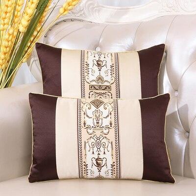 Последние европейские декоративные Чехлы для дивана, кресла, спинки, поясничная Подушка, роскошный Шелковый атласный чехол для подушки - Цвет: Шоколад