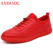 ANDAOL Mens Leather Casual Shoes Top Quality Non-Slip Light Student Trainers Luxury Brand Campus Sneakers Outdoor