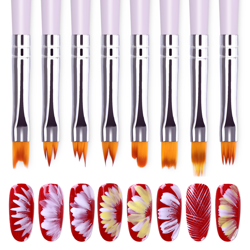 1 Pc Gradient UV Gel Brush Drawing Painting Soft Brushes Pink Handle  For Nail Art Pen Transfer  Tool