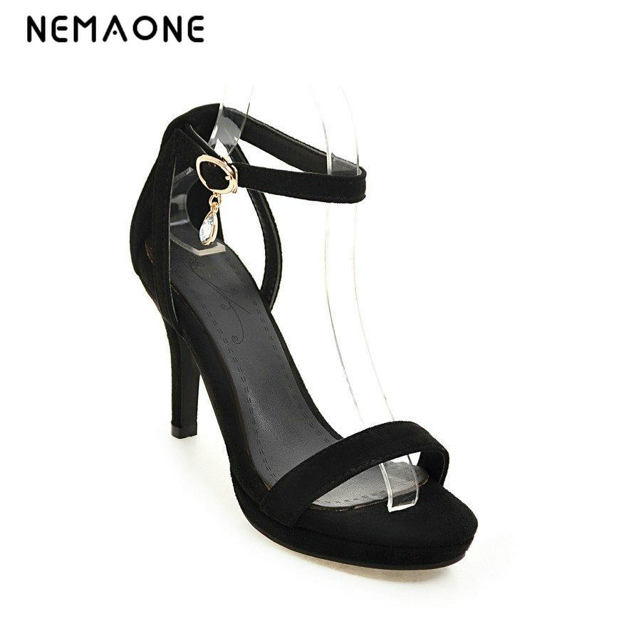 2017 New women shoes thin high heel women sandals sexy ankle strap summer shoes woman high heels less platform ladies shoes new arrival black brown leather summer ankle strappy women sandals t strap high thin heels sexy party platfrom shoes woman