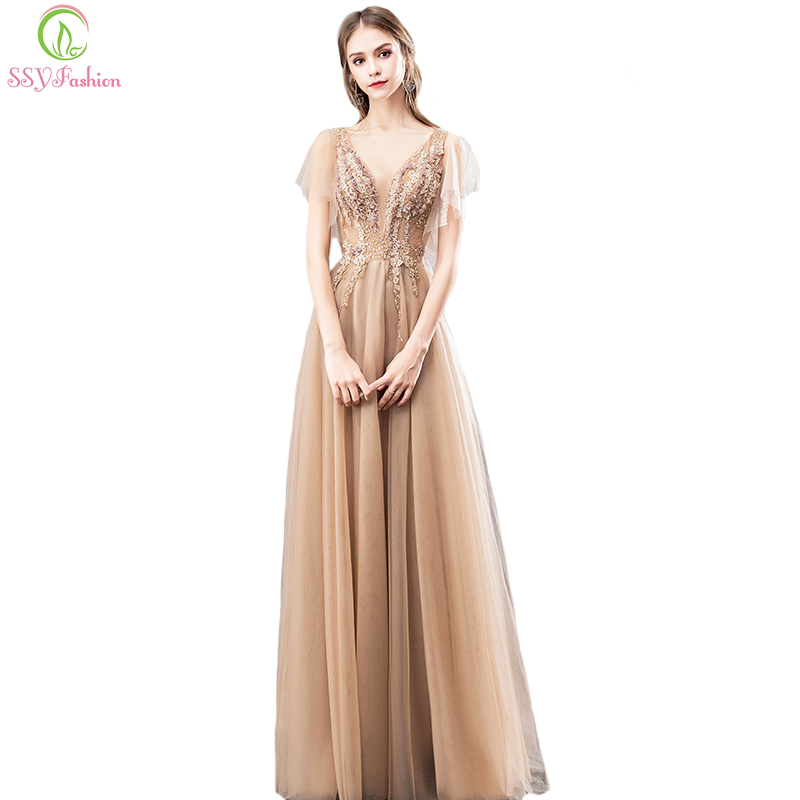 SSYFashion New Elegant Champagne Evening Dress V neck Lace Appliques Beading Floor length Prom Gown Formal
